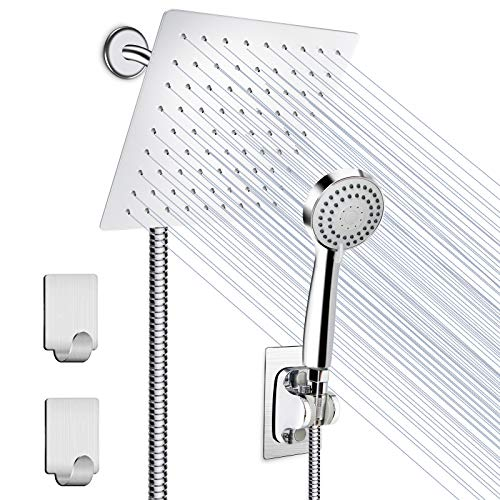 Shower Head, HUOSUC 8 Inch High Pressure Showerhead, Stainless Steel Rainfall Shower Head with Handheld Shower, 3 Channels Water Diverter, 60 Inch Hose, Holder, Flow Regulator, Shower Hooks