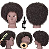 Afro Hair Mannequin Head with 100% Human Kinky Curly Hair Training Head Doll Hairdresser Cosmetology Manikin Head with Tight Curls for Hair-styling Practicing Dyeing Bleaching Braiding with Stand
