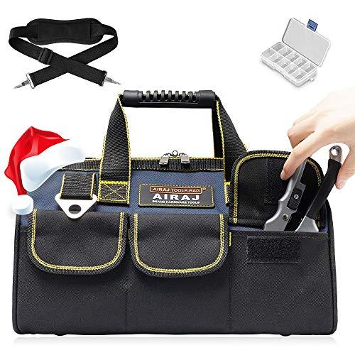 AIRAJ 33×21×25cm Bolsa de herramientas Multifunción con Carga Máxima18-50kg,14 bolsillos,Bandolera ajustable,Bolsa para guardar herramientas adecuada para familia,carpintería,Electricista