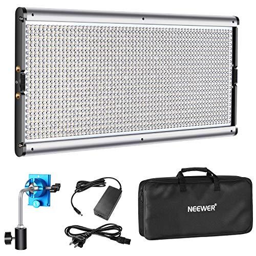 Neewer Luz LED Regulable de Iluminación Video con Marco de Metal 1320 Bombillas LED 3200-5600K,CRI 96+,Adaptador DC/Opciones Energía...