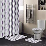 """DoremiHome Modern Art 4Pcs Shower Curtain Set with Rugs, Toilet Lid Cover Bath Mat, Shower Curtain with 12 Hooks, Perfect for Bathroom Decor 72""""x72"""" Waves Strippes Purple Grey White"""