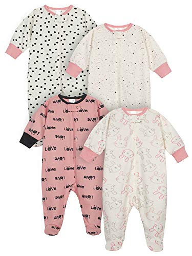 Onesies Brand Baby Girls' 4-Pack Sleep 'N Play, Bunny Pink, 0-3 Months