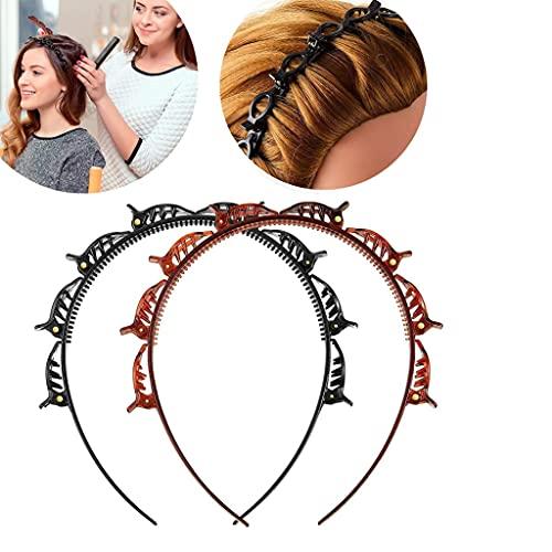 SXDY Diadema de doble flequillo para peinado, diademas trenzadas a la moda, doble flequillo peinado, diadema tejida con clips (2)