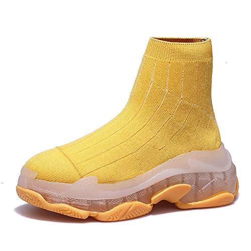 Loykind Neue Art Und Weise Plattform Turnschuhe Frauen Bequeme Hoch-Spitze Laufschuhe Socken Schuhe Leichte Atmungsaktive Mesh-Sneakers Boots,Gelb,39