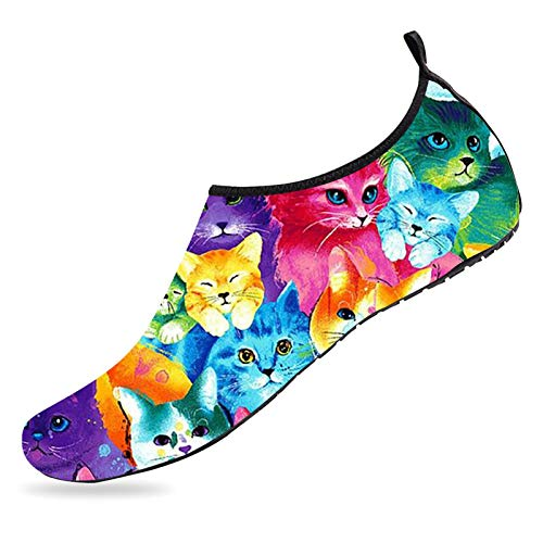 Colorful Cats Water Shoes Quick Dry Barefoot Shoes Non Slip Aqua Socks Sports Beach Swim Pool Shoes for Mens Womens