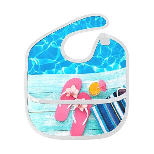Neugeborene Baby Lätzchen Sommer Pool rosa Sandalen von Schwimmbad benutzerdefinierte weichen Fleck Baby Fütterung Dribbeln Sabbern Lätzchen Rülpsen für Kleinkinder 6-24 Monate Sommer Pool rosa Sanda