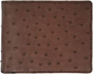 Genuine Ostrich Skin Leather Man Bifold Wallet - Black brown