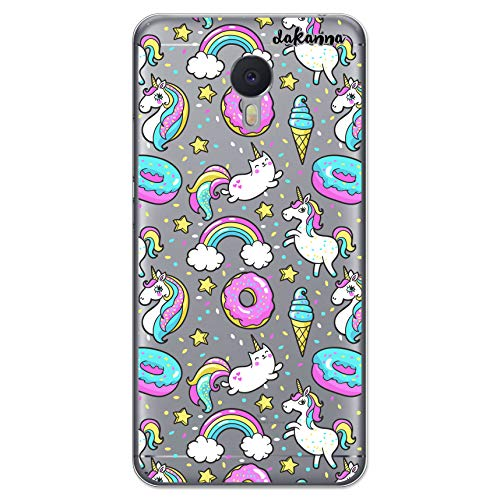 dakanna Schutzhülle Kompatibel mit [Meizu M3 Note] Flexible Silikon-Handy-Hülle [Transparenter Hintergr&] Einhorn-Donut-Eiscreme & Regenbogen Design, TPU Gel Hülle Cover für Dein Smartphone