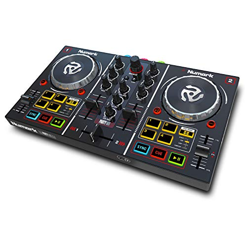 Numark Party Mix - 2 Kanal Plug und Play DJ Controller für Serato DJ Lite mit eingebautem Audio Interface und Kopfhörer Cueing, Pad Performance Steuerung, Crossfader, Jog Wheels und Light Show