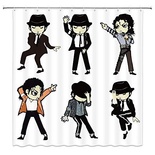 NJMRZX Michael Jackson Duschvorhang Cartoon Portrait Musik & Tanzen Stern Dekor Schwarz Weiß Stoff Badezimmer Gardinen 183 x 183 cm Wasserdicht Polyester mit Haken