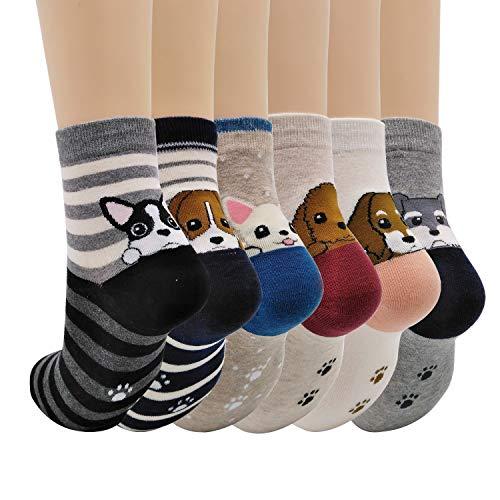 Merclix Calcetines Mujer Algodon, Calcetines Divertidos Con Dibujos, Regalos Originales Para Mujer Niñas (Perro, 6)