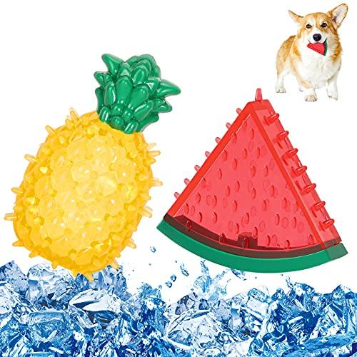 Pawaboo 2PZS Juguetes Molar Multifuncional para Mascota, Juguo de Refrigeración en Verano para Morder, Resistentes Juguetes Interactivos para Cachorro de Perros Pequeños Medianos - Sandía y Piña