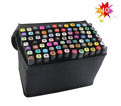 40 Farbige Graffiti Stift Fettige Mark Farben Marker Set,Twin Tip Textmarker Graffiti Pens für Sketch Marker Stifte Set Kind Safe & Nicht-Giftig