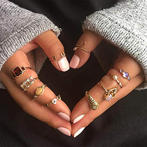 Yean Boho Crystal Ring Set Gold Joint Knuckle Ring Statement ringen met parel voor Vrouwen en Meisjes (10st)