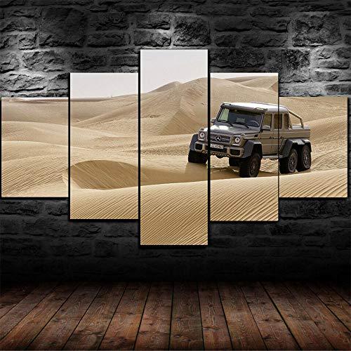 AWER 5 piezas de lienzo de arte de pared G 63 AMG 6X6 Coche del desierto 5 piezas de lienzo Foto Regalo Moderno Decoración Decorativo para Tu Salón o Dormitorio Mural Hd Con Marco