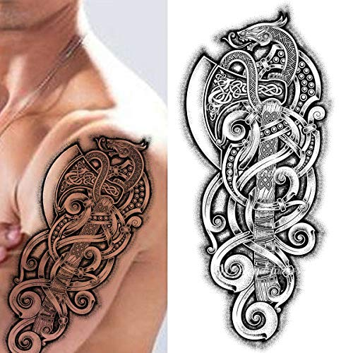 Viking celtic nordic tribal axe snake tribal stick on tattoo temporary body art transfer for women and men cosplay halloween adult temp tattoo for arms shoulders chest back legs axe viking tattoo