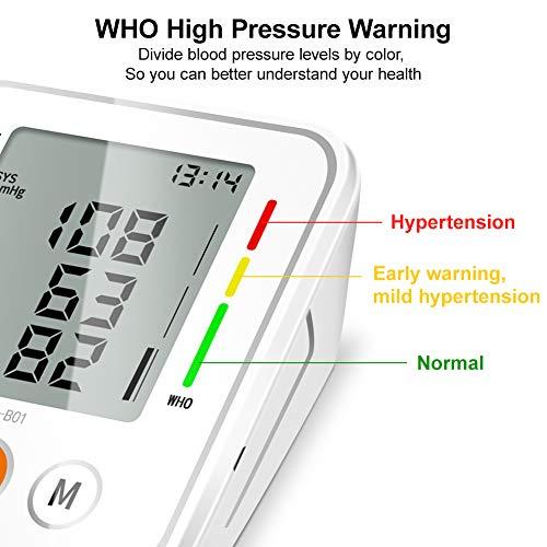 51y2rQye9JL - NWOUIIAY Tensiómetro de Brazo Eléctrico Digital con Monitoreo de Arritmia Memorias de 2 Usuarios(2 * 99) Gran Pantalla LCD Brazalete 22-42cm Blanco