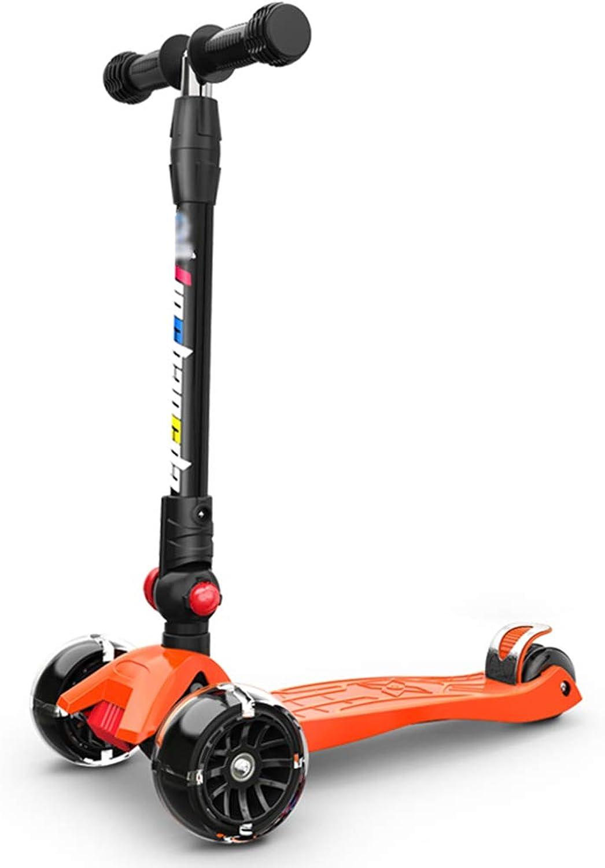 aquí tiene la última JianMeiHome Scooter 2-12 años de Edad, Edad, Edad, Ruedas Anchas Scooter de Cuatro Ruedas Scooter Plegable Naranja  la mejor selección de