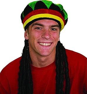 Jamaican Rhasta Hat with Dreadlocks, Black, One Size
