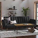 Novogratz Brittany Sofa Futon - Premium Upholstery and Wooden Legs - Dark Gray