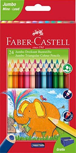 Faber-Castell 116524 - Jumbo Buntstifte dreikant, 5.4 mm, 24er Karton