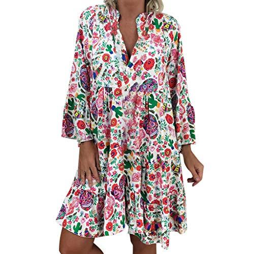 LOPILY Frauen Große Größen Blumenmuster Kleider Boho Stil Übergröße Sommerkleider Blumendruck Knielang Kleid Kurzarm Kleid Tunika Swing Kleid (44 DE/L CN, Mehrfarbig)