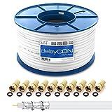 Bild des Produktes 'deleyCON HQ+ 100m SAT Koaxial Kabel 135dB - 5-Fach geschirmt für DVB-S - S2 DVB-T und DVB-C - 4K 1080p Full HD HDTV'