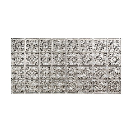 Fasade Easy Installation Traditional 1 Crosshatch Silver Glue Up Ceiling Tile / Ceiling Panel (2' x 4' Panel)