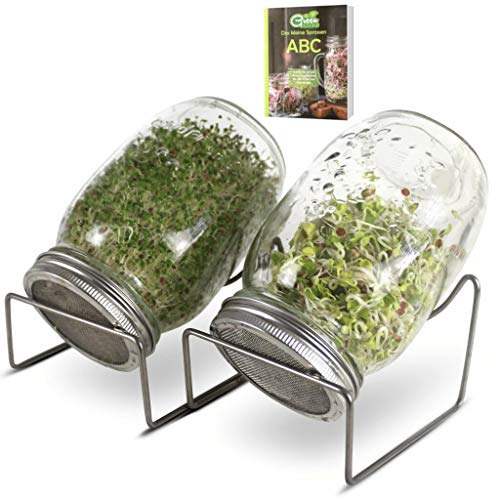 Green SEEDS Sprossenglas Keimglas 2er Set 1000ml mit hochwertigem Edelstahl-Gitterdeckel, Ständer + GRATIS Sprossen-ABC [Druckversion]