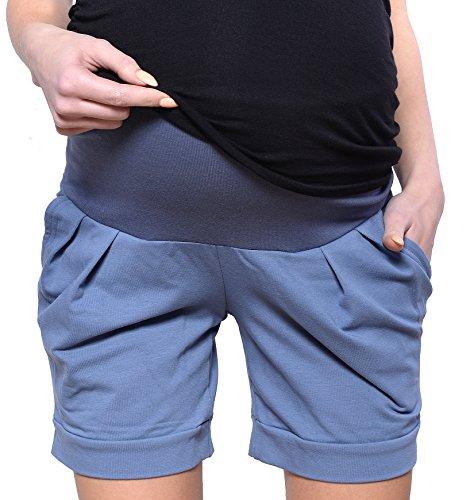 Mija Kurze Umstandsshorts/Umstandshose mit Bauchband für Sommer 1047 (EU38 / M, Jeans)