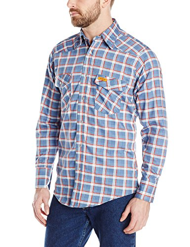 Wrangler Men's Flame Resistant Western Two Pocket Snap Shirt, Blue/Red, XX-Large
