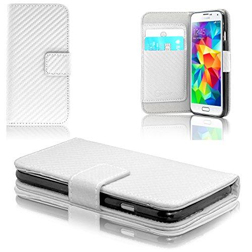 Gorilla Tech Samsung Galaxy S5 Carbon Fibber Design Flip Wallet Stand Cover Pouch met business Card Slots ID/Bank Kaartvak Stijlvol Beschermend Duurzaam, Wit