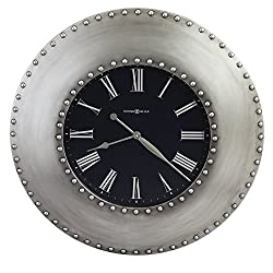 "Howard Miller Bokaro Wall Clock 625-610 – 33"" Oversized Black Antique Nickel Home Decor with Quartz Movement"