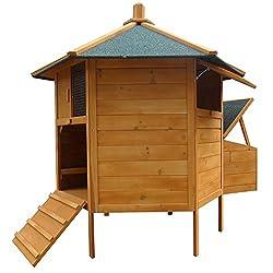 Melko Hühnerstall 6-Eck Hühnervoliere Pavillion, aus Holz, 131 x 125 cm, braun mit grüner Dachpappe, inkl. Rampe + 2 Hühnerstangen + Nestbox