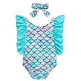 Baby Girl Mermaid Swimsuit Ruffle Sleeve Swimwear One Piece Sunsuit+Headband Outfits (Mermaid, 3-6 Months)