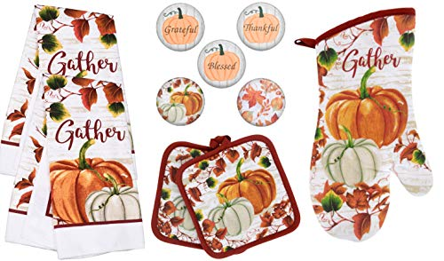 Charmed By Dragons Modern Farmhouse Kitchen Towel Set with Pot Holders Oven Mitt and Set of 5 Refrigerator Magnets Modern Farmhouse Decor (Fall Gather)
