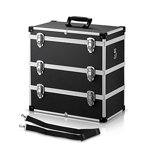 IKAYAA Maletín Universal Caja de Herramienta de 3 Piso Multiuso Negro Material de MDF + ABS + Plástico 44 * 24 * 45,5 cm