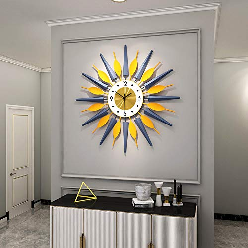 Large Metal Clocks Sunburst Big Fancy Decorative Clock with Silent Movement Luxury Bohemian Style Modern Wall Clock Art for Living Room, Bedroom, Office Decor - Yellow