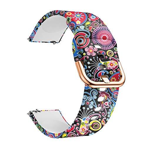 ZLRFCOK Correa de reloj de 20 mm y 22 mm para Samsung Galaxy Watch Active 2 Correa de repuesto de silicona para pulsera Huawei Watch GT 2E (color de la correa: pavo real, ancho de la correa: 20 mm)