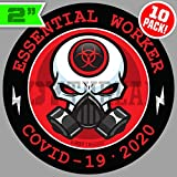 10 PACK 2' Essential Worker Stickers Hard Hat Decals Sticker Pack Nuclear RED Toxic Hazard 2 inch