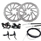 LIOOBO Cigüeñal Ajustable del Freno del Disco Trasero del Freno de Disco de la Bici con el Cable de 2 Frenos para la Bicicleta de la montaña
