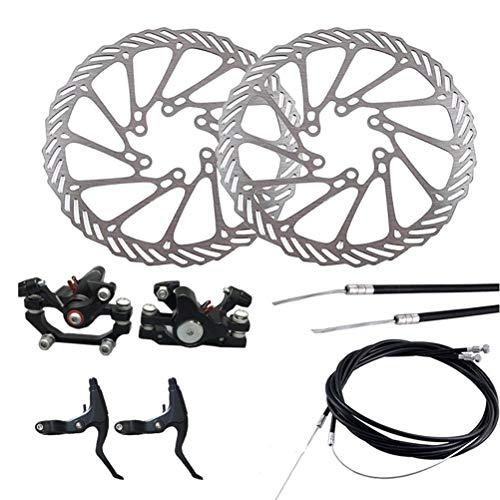 LIOOBO Fahrrad Scheibenbremse Aluminium vorne und hinten Bremssattel Fahrradbremse Mechanische Scheibenbremse vorne und hinten mit 2 Bremsen für Mountainbike