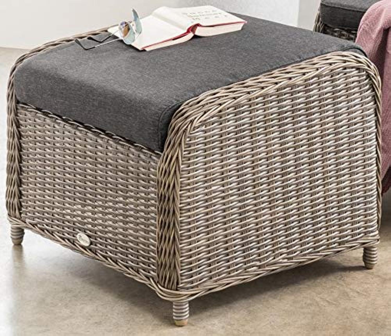 Destiny Lounge Hocker Casa Vintage Grau Luna Palma Fuhocker Polyrattan Beinauflage