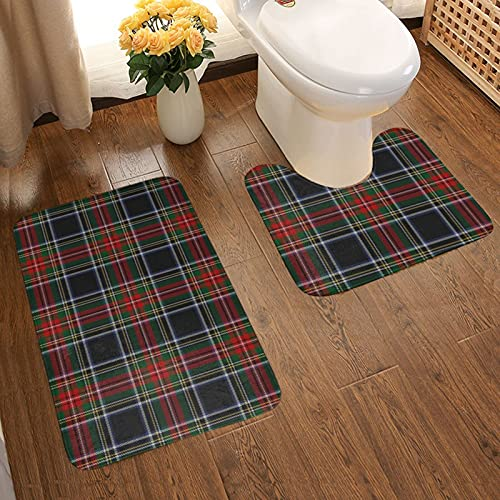 Tappeto da bagno antiscivolo e assorbente, morbido tappetino antiscivolo + assorbimento dell'acqua contorno nero Stewart Tartan