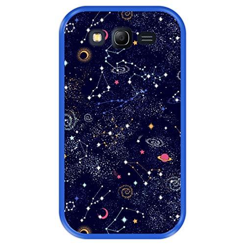 Hapdey Funda Azul para [ Samsung Galaxy Grand Lite - Grand Neo - Neo Plus ] diseño [ Patrón de constelación, Galaxia ] Carcasa Silicona Flexible TPU