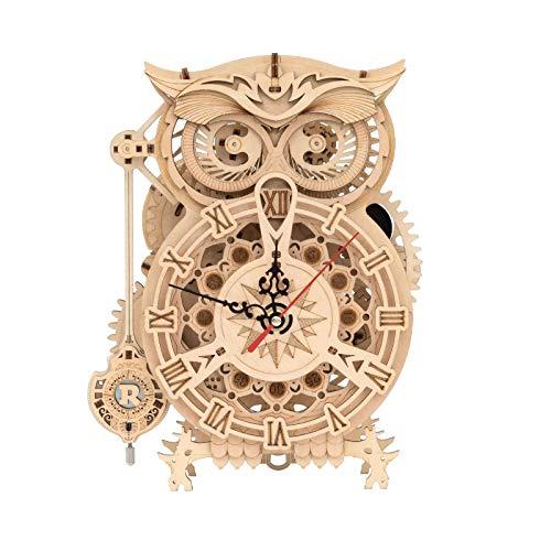 U/K 3D Puzzle Owl Reloj Mecánico Péndulo Artesanía de Madera para Adultos WeCke Timer Autocontrol Modelo de Edificio, Kits Regalo para niños de 14 años (Color : 1)
