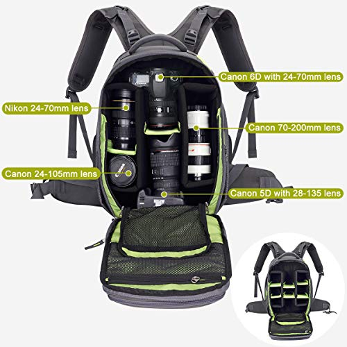 Endurax Video Camera Backpack Fit 2 DSLR/SLR Camera, 3-5 Lenses, 15.6 inch Laptop for...