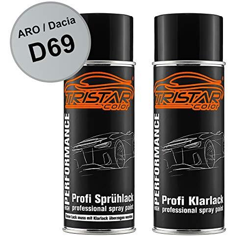 TRISTARcolor Autolack Spraydosen Set für ARO/Dacia D69 Gris Platine Metallic/Platin Grau Metallic Basislack Klarlack Sprühdose 400ml