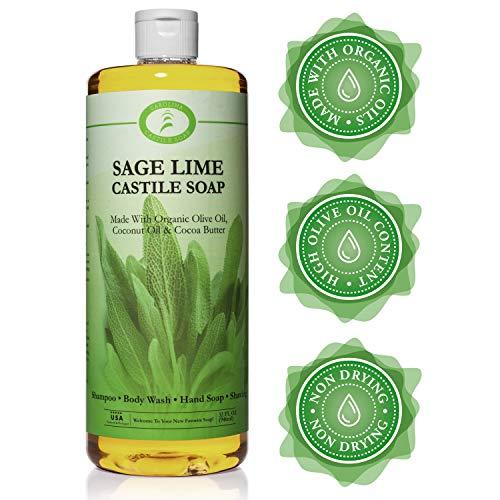 Sage Lime Castile Soap Liquid - 32 oz - Carolina Castile - Sage Body Wash & Sage Shampoo - Made With Organic Olive & Coconut Oils