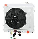 CoolingCare 3 Row Aluminum Radiator +16 Inches Fan w/Shroud for Chevy C/K Series 10 20 30 Pickup Truck &Many GM Models 1961-1966
